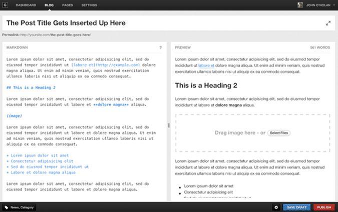programma's voor websites blogs ghost