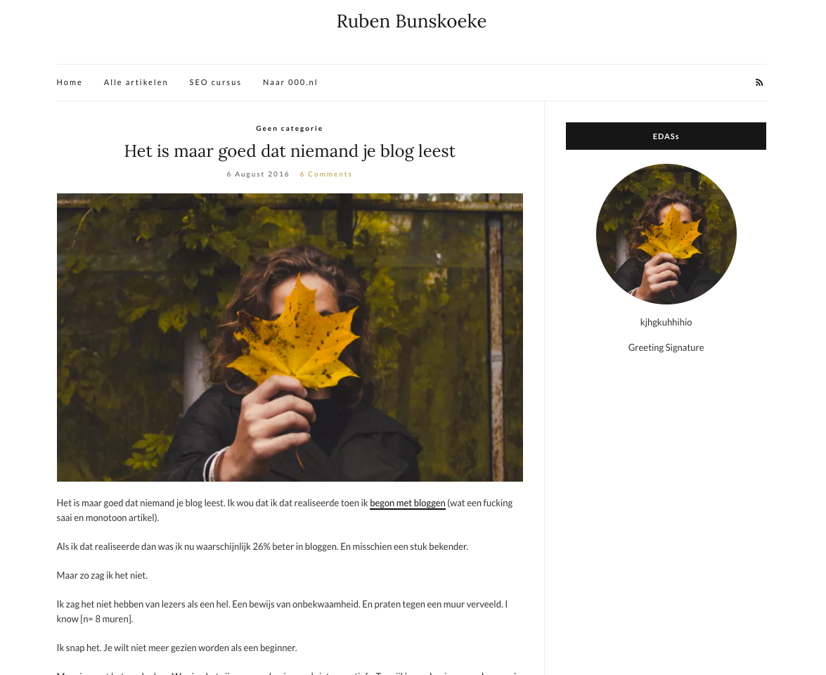 Gratis WordPress thema geinstalleerd